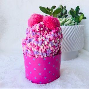 🧁 Fuzzy Cupcake Pom Pom Socks